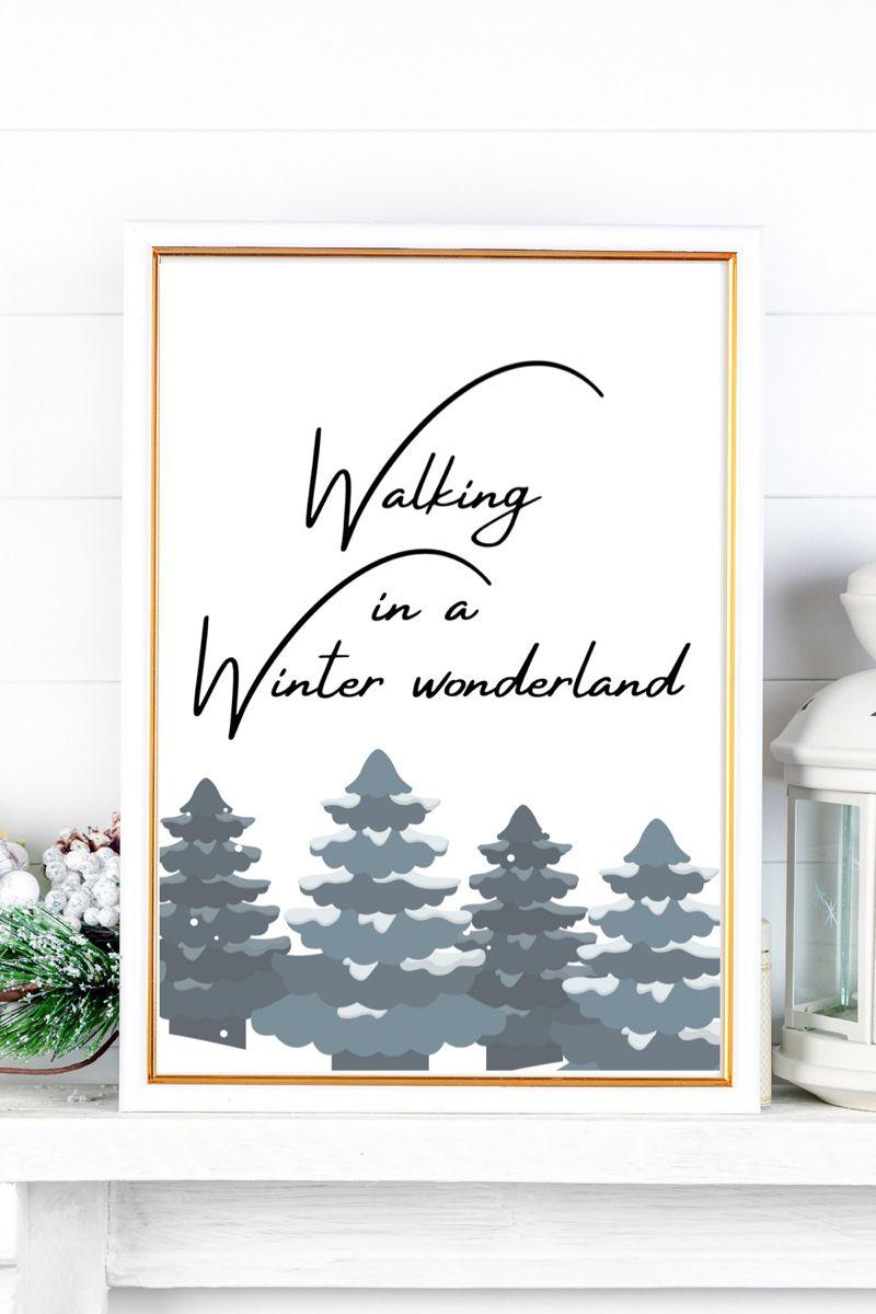 Winter Wonderland Printable Art Snowy Trees Print Modern Etsy Tree Wall Art Etsy Wall Art Etsy Printable Art