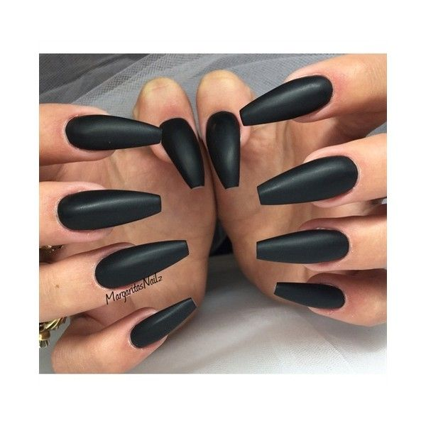 Black Matte Ballerina Nails Nail Art Gallery ❤ liked on Polyvore ...