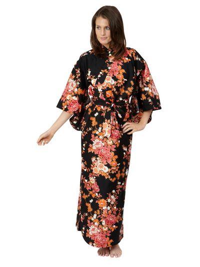 Peony   Blossom Cotton Sateen Kimono Black Long  61e0547a0