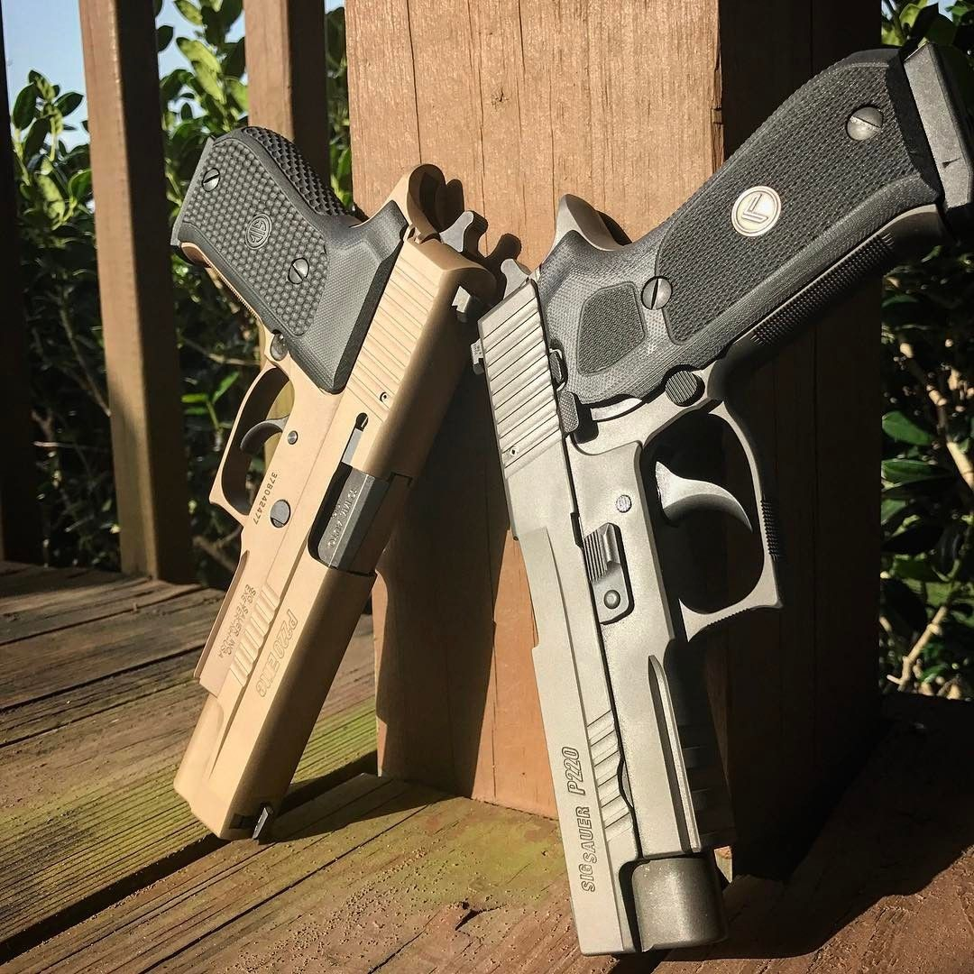 Sig p220 45 legion and the sig p220 10mm emperor scorpion looking good in the sun. -