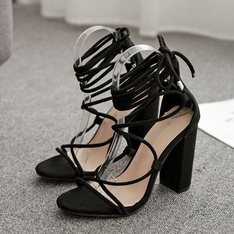 #woman #sandals #black #suede #peep #toe #high #heels #pumps #cross-tied #narrow #band #ankle #strap #stilettos #summer #dress #shoes #shoes