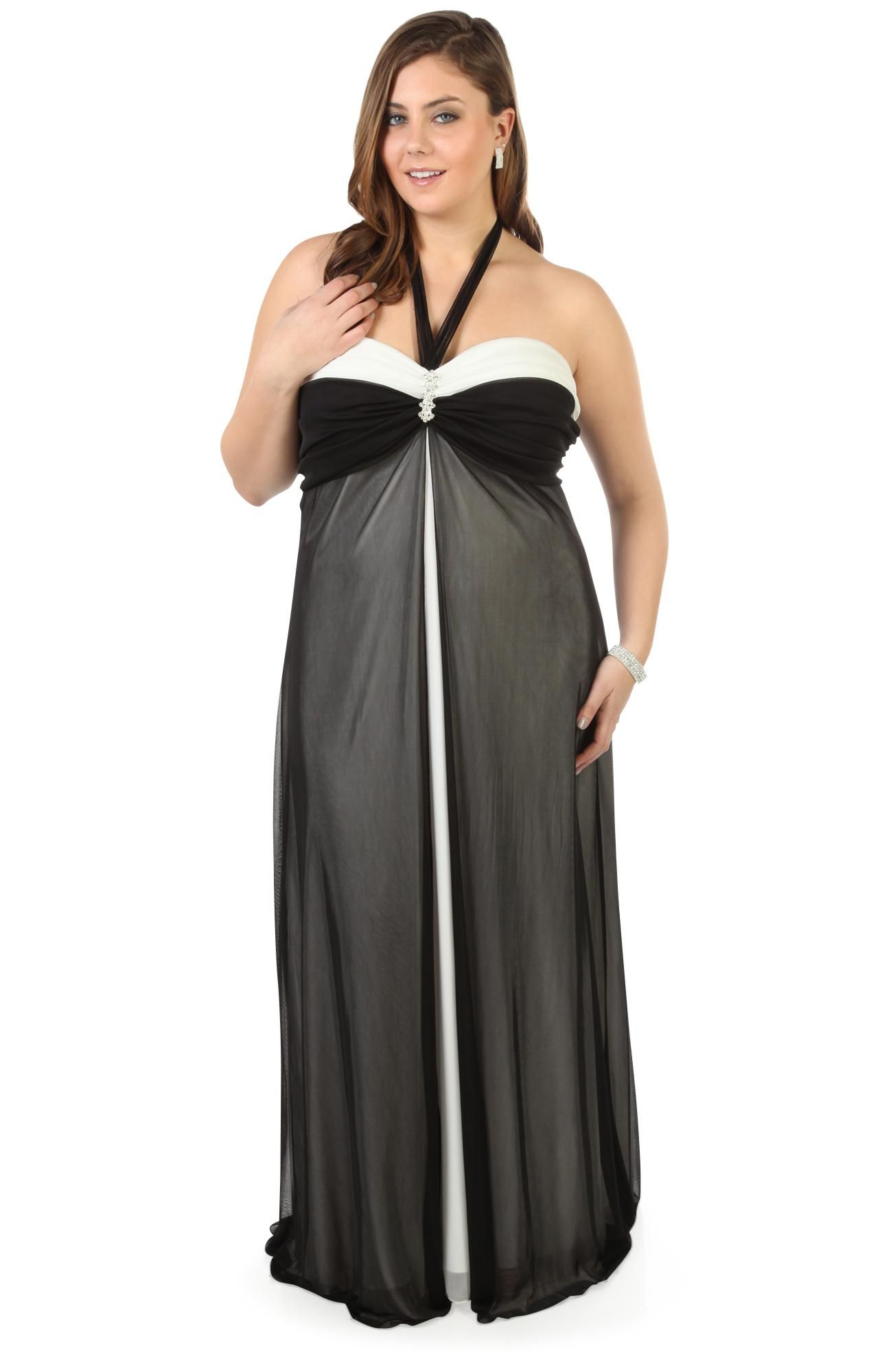 plus size black and white long prom dress with rhinestone pin ...