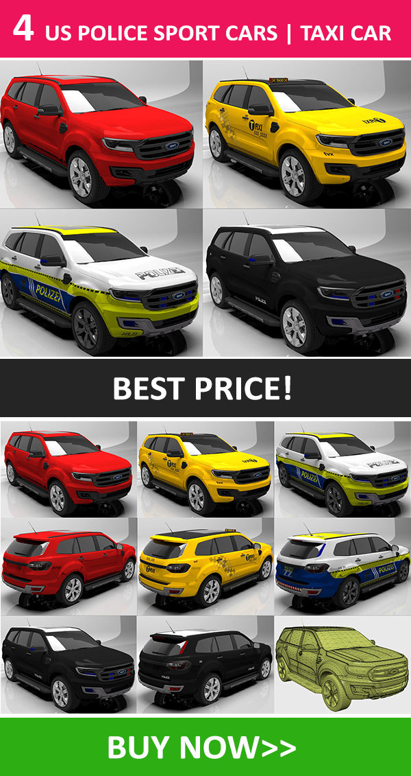 4 US Police Sport Cars Taxi Car HQ Texture in 2020
