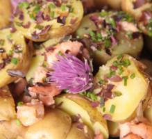 Recette Salade Tiede De Bonnottes De Noirmoutier Aux Algues Et A La Fleur De Ciboulette 750g Recette Salade Piemontaise Salade Tiede Recette Salade