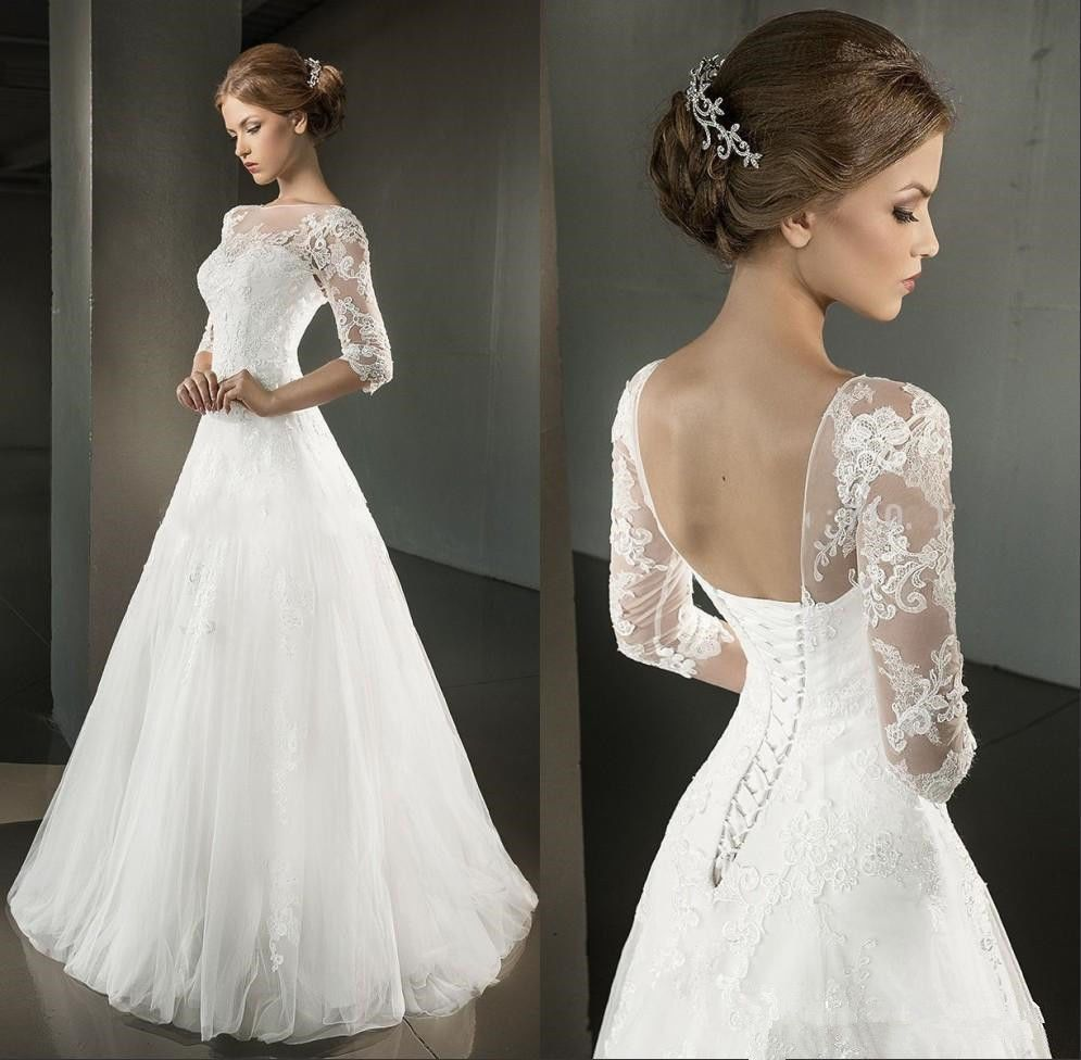 2016 spring a line wedding dresses half sleeve open back for Wedding dresses with lace up back