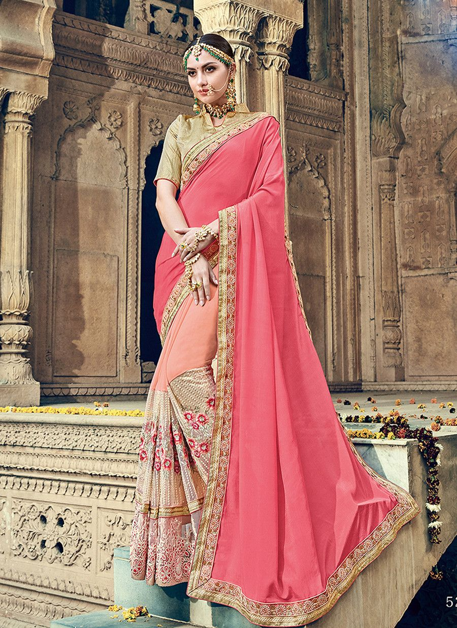 Pink colour designer heavy party wear fancy fabric saree with