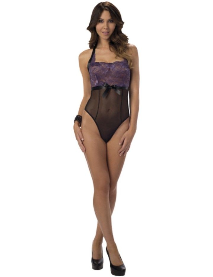 fdb5e2f50 This sexy halter tie back lace and mesh teddy has a front black ribbon bow  detail and G-string back.