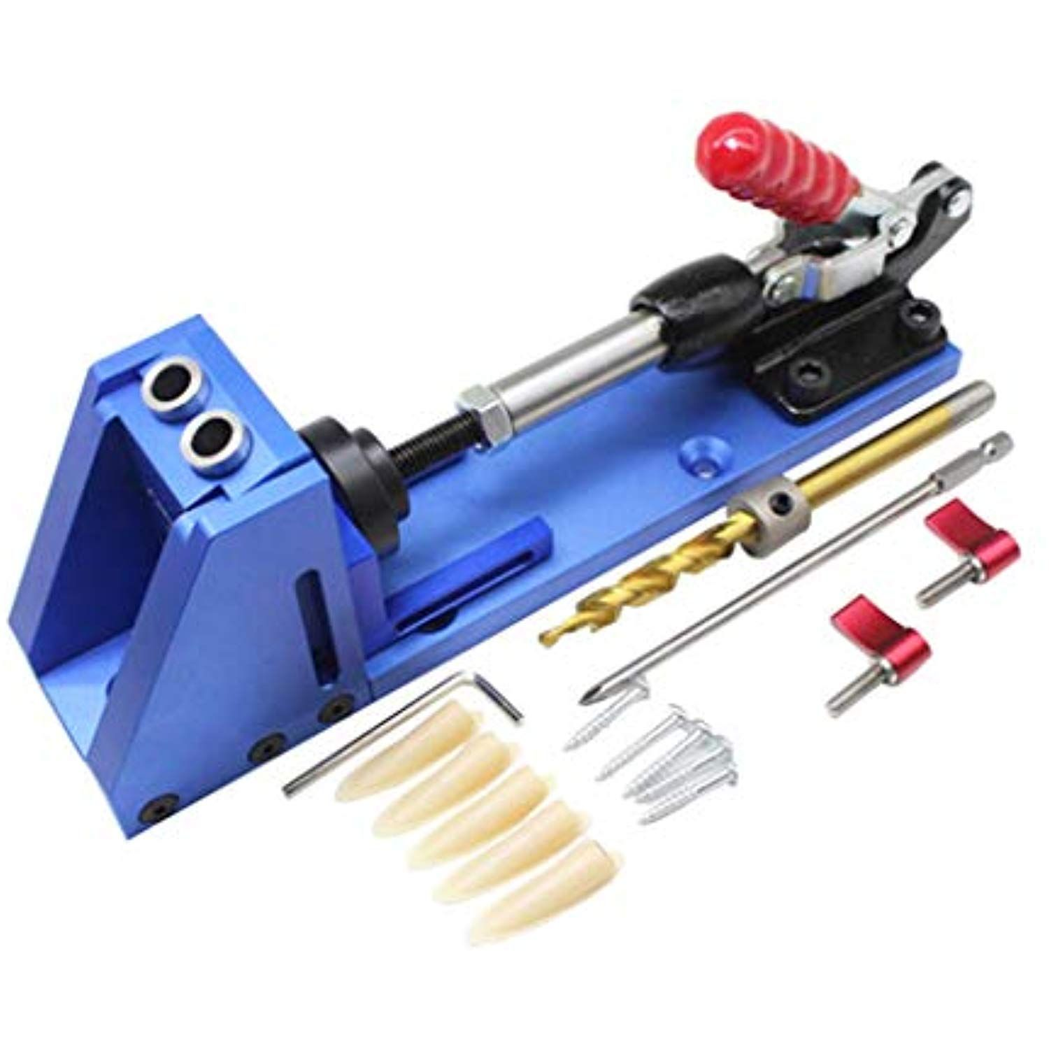 Portable Pocket Three Inclined Hole Drill Jig Joinery System Woodworking Bit Kit