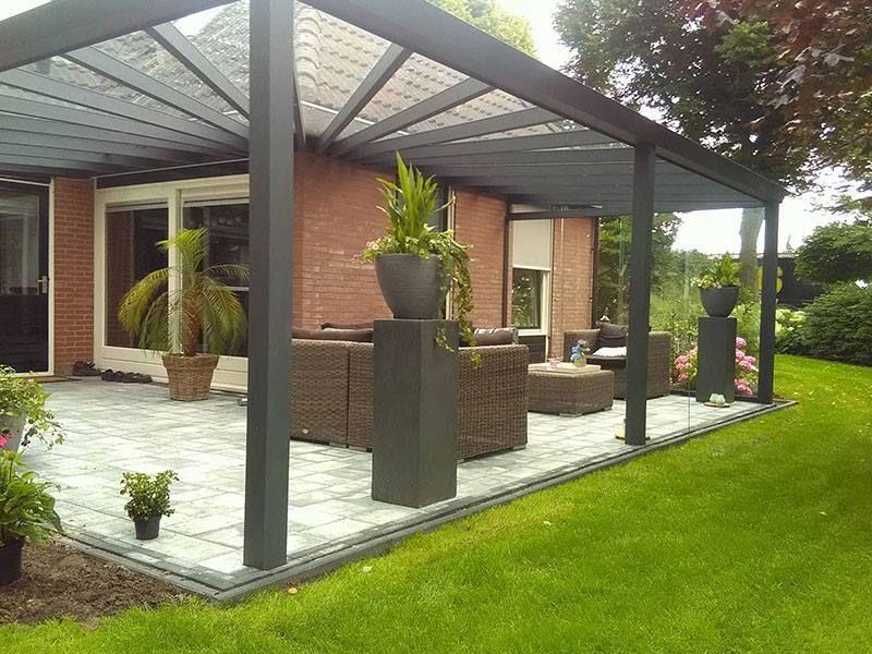 moderne terrassen berdachung als eckmodell iaus aluminium in anthrazit q s gartendeco. Black Bedroom Furniture Sets. Home Design Ideas