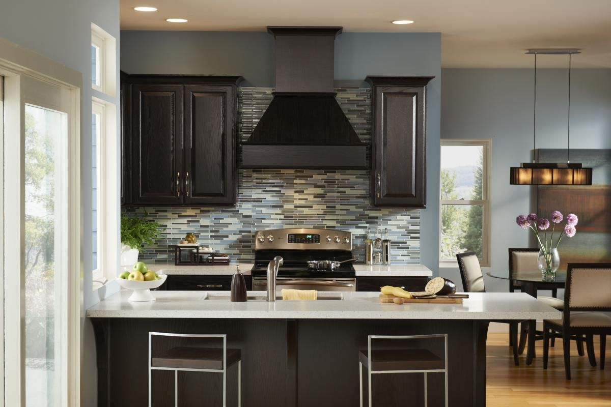 Cool Blue And Chocolate Kitchen Cultivate Com Dark Kitchen Cabinets Modern Kitchen Colours Kitchen Wall Colors