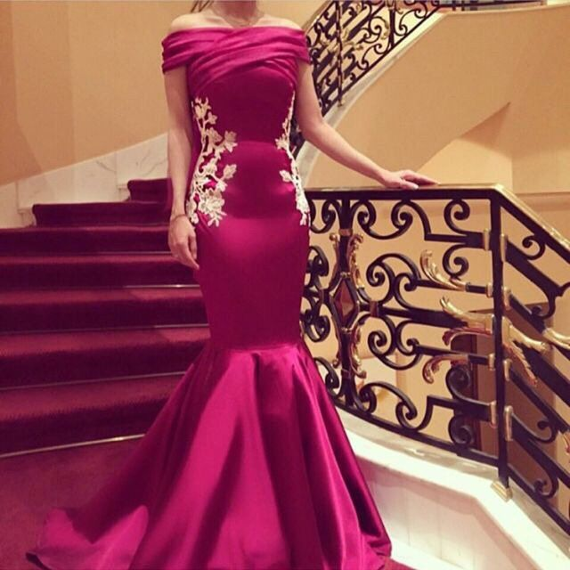 Formal Gown Sexy - Luxury Fuschia Mermaid Prom Dresses 2016 Long V Neck Evening Party Dress  Sexy Formal Gown Custom