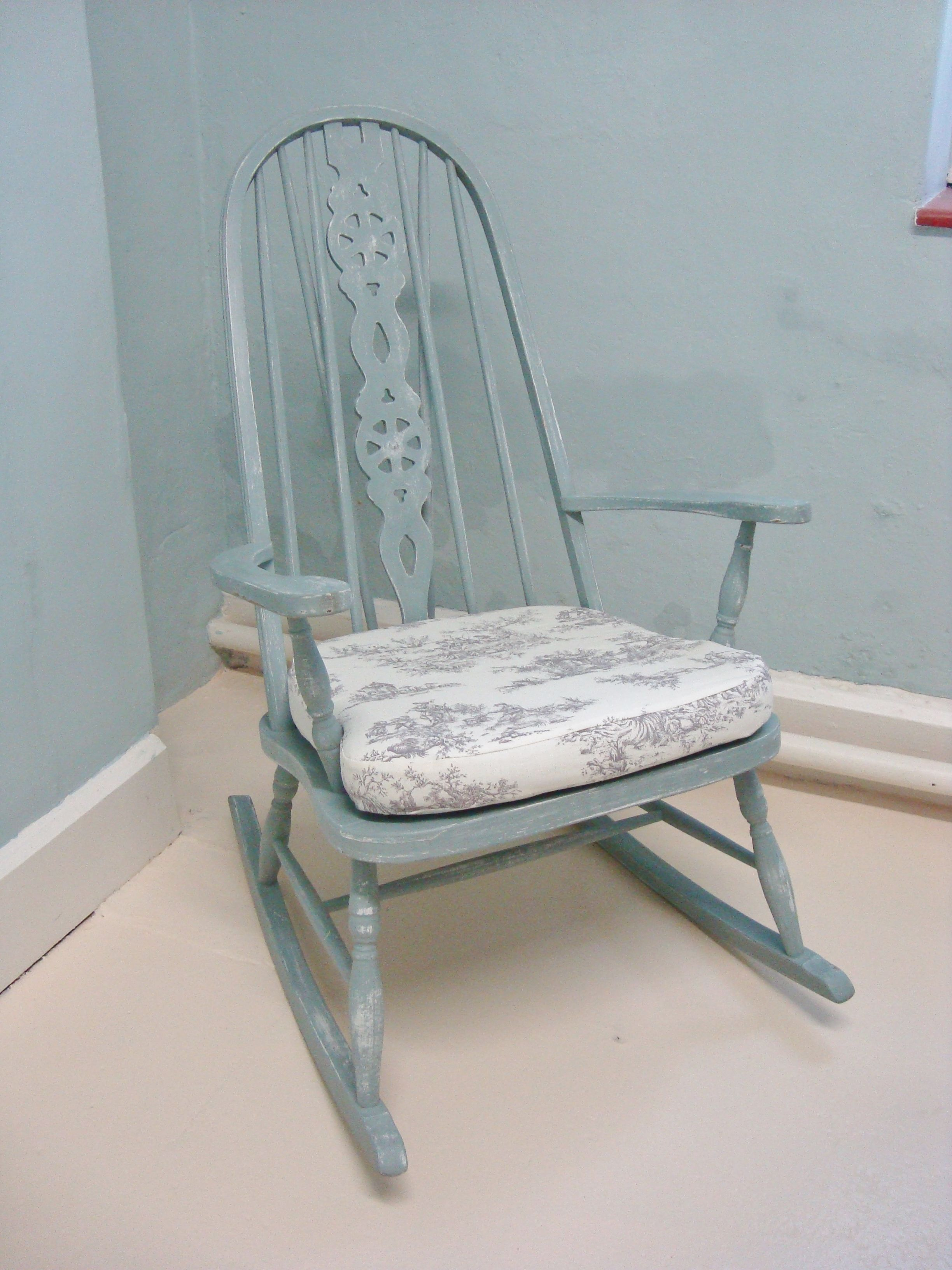 Amazing photo of Vintage Hand Painted Rocking Chair Painted Blue Furniture Pintere  with #756556 color and 2448x3264 pixels