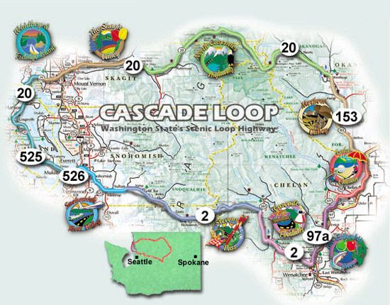 Cascade Loop Map Highlights and best stops along the beautiful Cascade Loop drive  Cascade Loop Map
