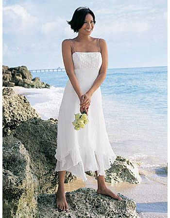 Ivory Tea Length Beach Wedding Dresses