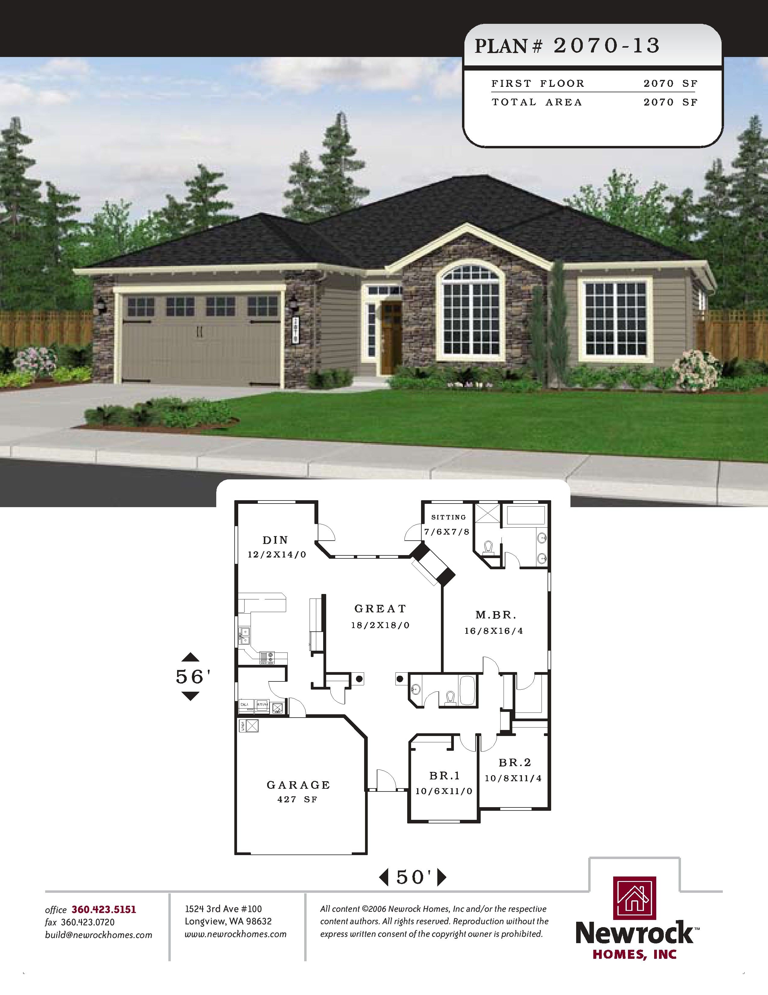 Plan 2070 13 Newrock Homes House Construction Plan Sims House Plans Ranch Style House Plans