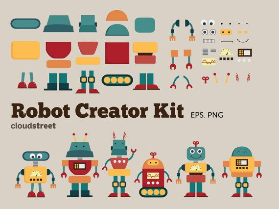 Cute Robots Creator Kit clip art for personal and commercial use ...