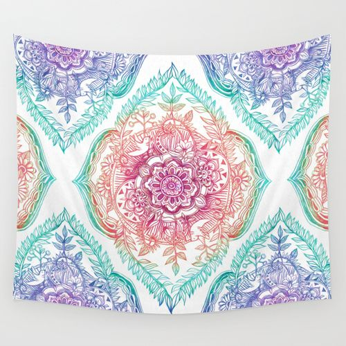 Indian Ink - Rainbow version Wall Tapestry