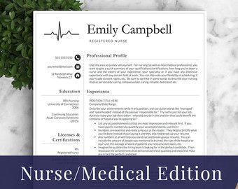 Nurse Resume Template For Word  Pages  Medical Resume Nurse Cv