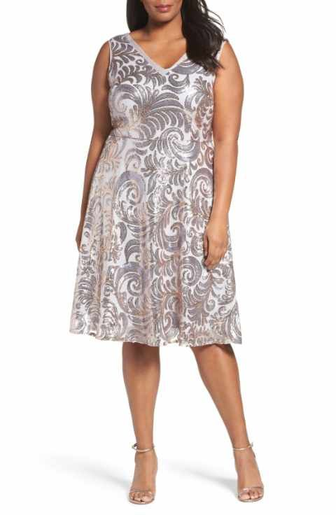 Brianna Sequin Fit Flare Dress Plus Size Dressy For Other