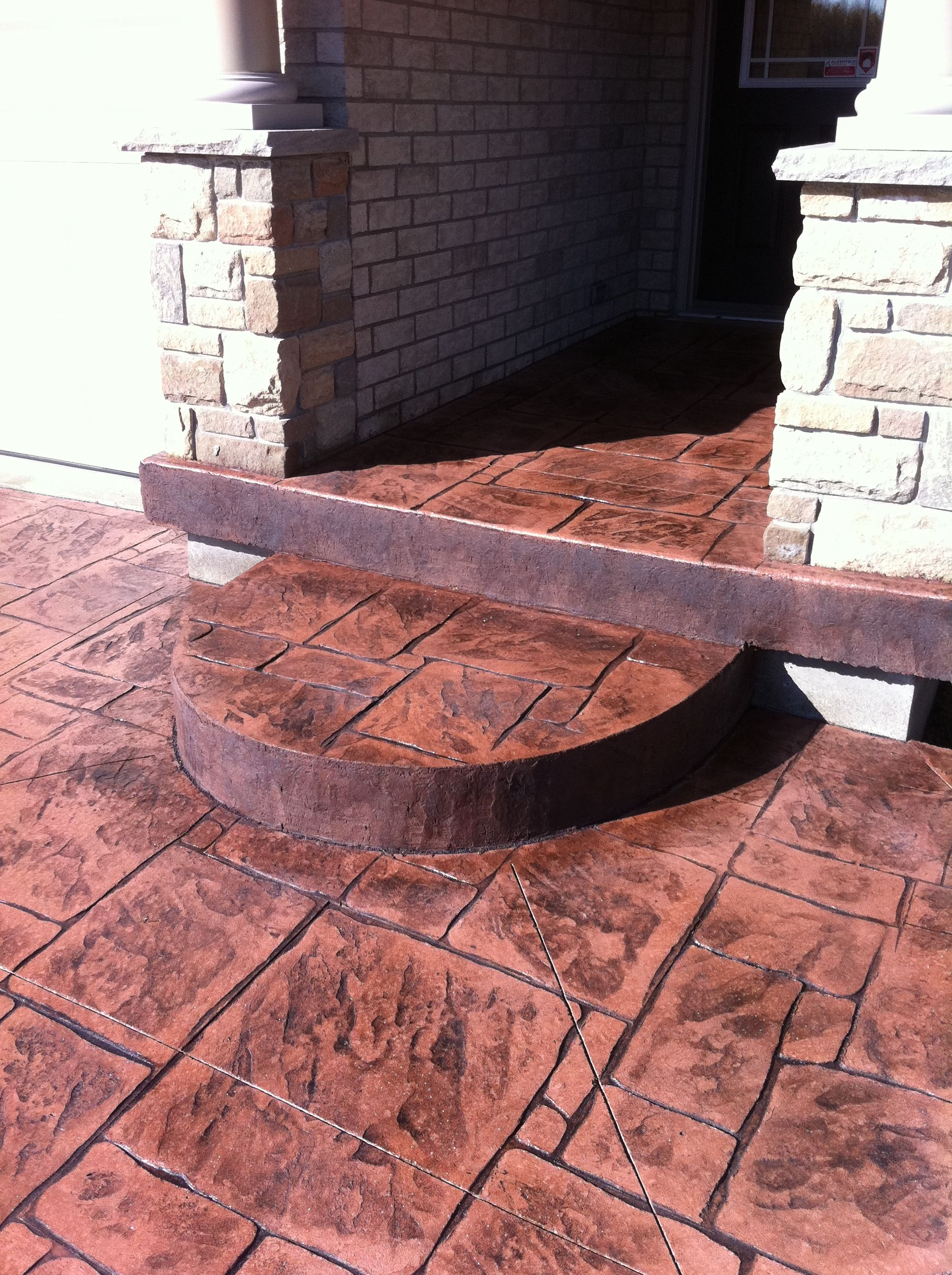 English Yorkstone Stamped Concrete Semi-Circle Step in ...