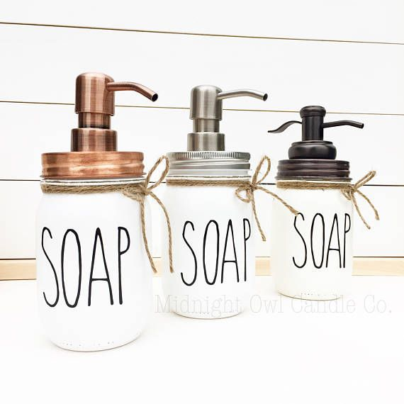 b429b11eb323 THE ORIGINAL Rae Dunn Inspired Soap Dispenser, Mason Jar Soap ...