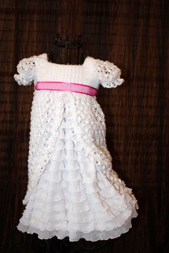 Beautiful crochet and ruffle blessing dress | So cute I could die ...
