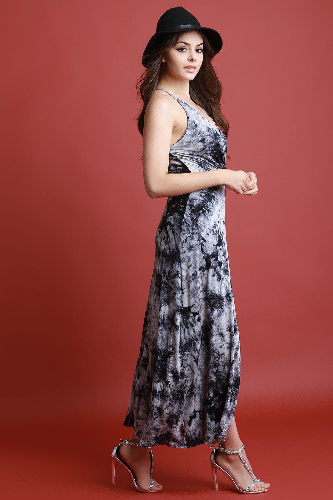 Tie dye open front crisscross back bodysuit maxi dress bodysuit
