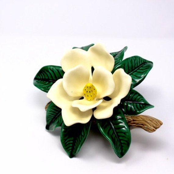 Vintage Ceramic Magnolia Flower Figurine Southern