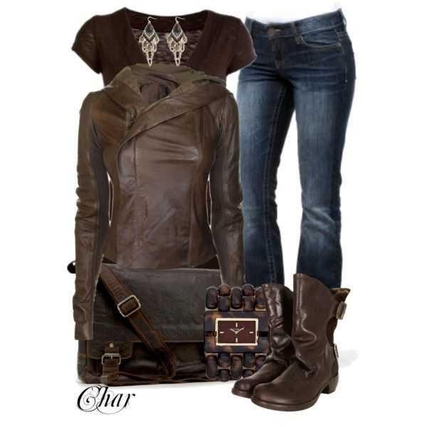 Wrap Leather Jacket T Shirt Basic Jeans Slouch Leather Boots Bulky