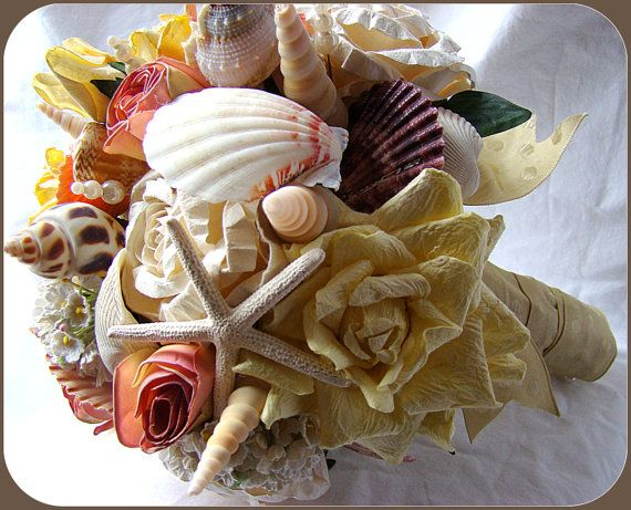 Items Similar To Sale Wedding Bouquet With Sea Shells And Flowers Beach Nautical Original Price On Etsy