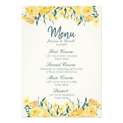 Yellow Spring Summer Country Wedding Menu Card Cards And