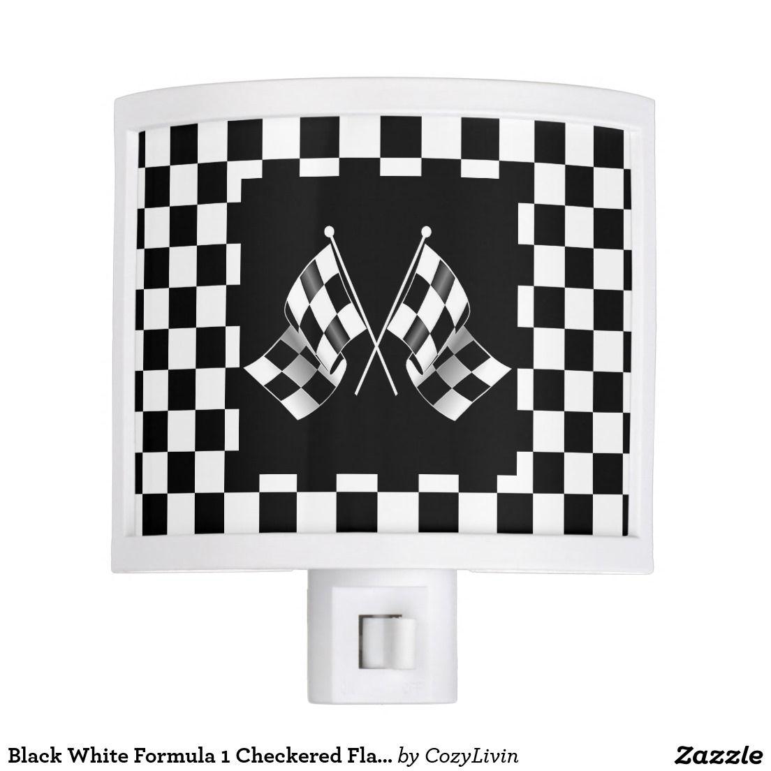 cool black white formula 1 checkered flags pattern night light