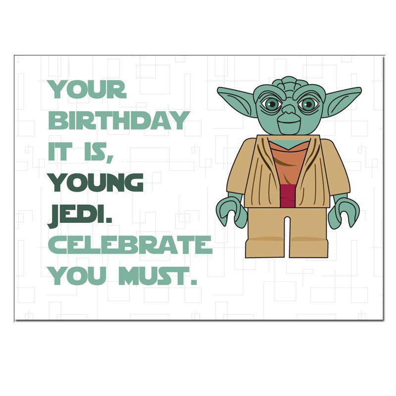 Lego Star Wars Yoda Birthday Card By Designedbywink On Etsy Star