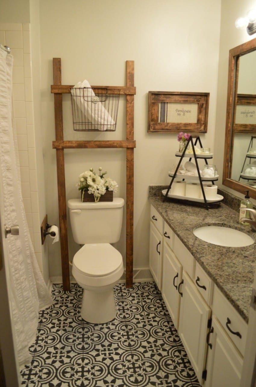 Pin By Mandy Henning On For The Home Painted Bathroom Floors Bathroom Ladder Diy Bathroom