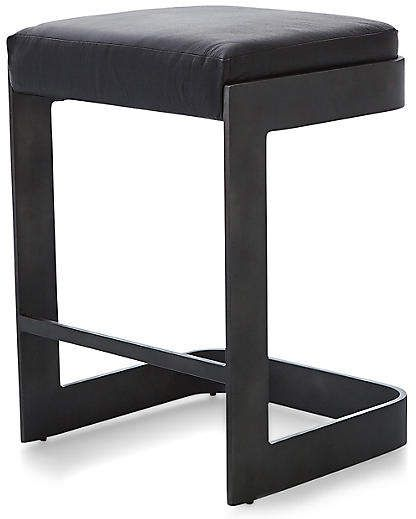 Excellent Global Views Regan Barstool Black Leather Products Creativecarmelina Interior Chair Design Creativecarmelinacom