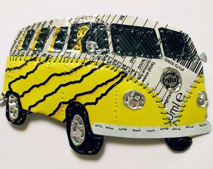 Campervan gifts, soda can art, VW camper van, upcycled, wall art ...