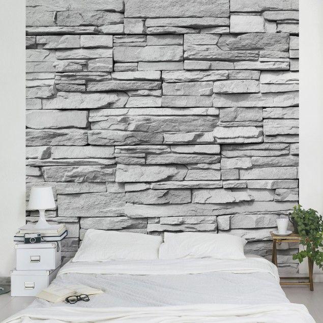 Steintapete - Vliestapete Ashlar Masonry - Fototapete Quadrat - wohnzimmer ideen mit steintapete