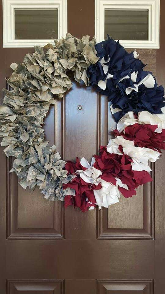 Army Uniform Red White And Blue Wreath Military Crafts Army Wreath Military Wreath