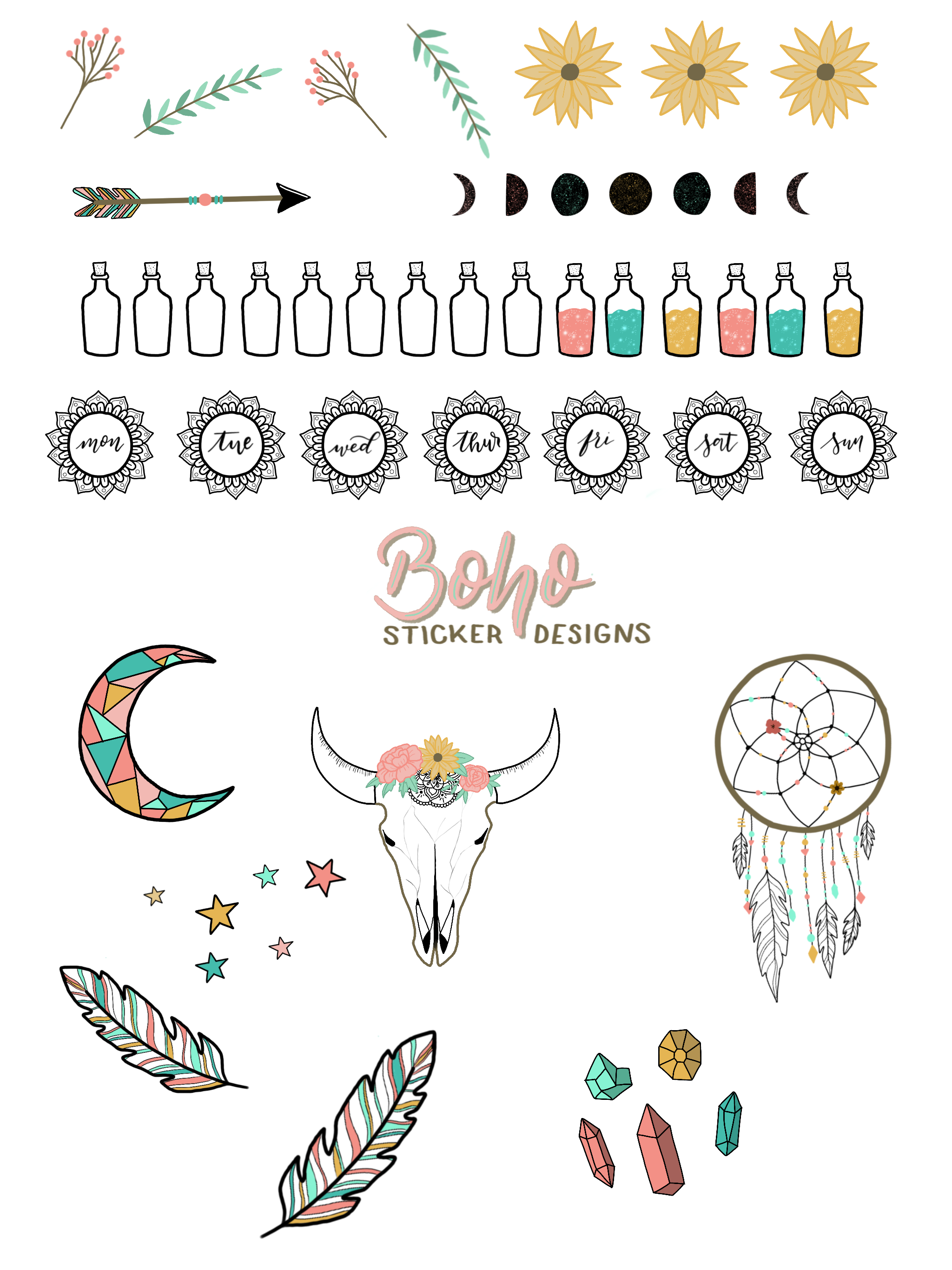 Free Printable Boho Doodle Stickers For Your Bullet Journal Bullet Journal Doodles Bullet Journal Art Journal Doodles [ 2732 x 2048 Pixel ]