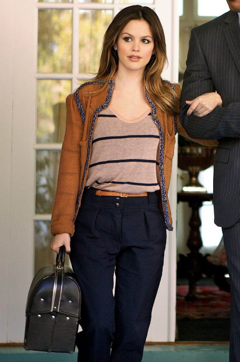 Brown jacket and high waisted trousers (Hart of Dixie) - great outfit!