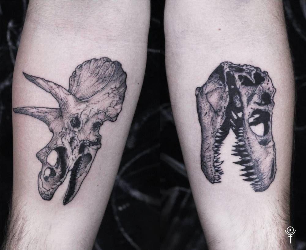 Triceratops and T-Rex skulls. Tattoo artist: Gabor ...