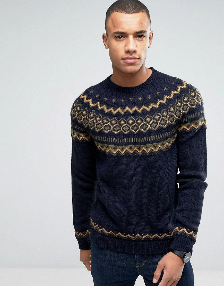 Men S Vintage Style Sweaters 1950s Esprit Crew Neck Knit With Fairisle Detail Navy Men Sweater Mens Outfits Hipster Outfits Men [ 1110 x 870 Pixel ]