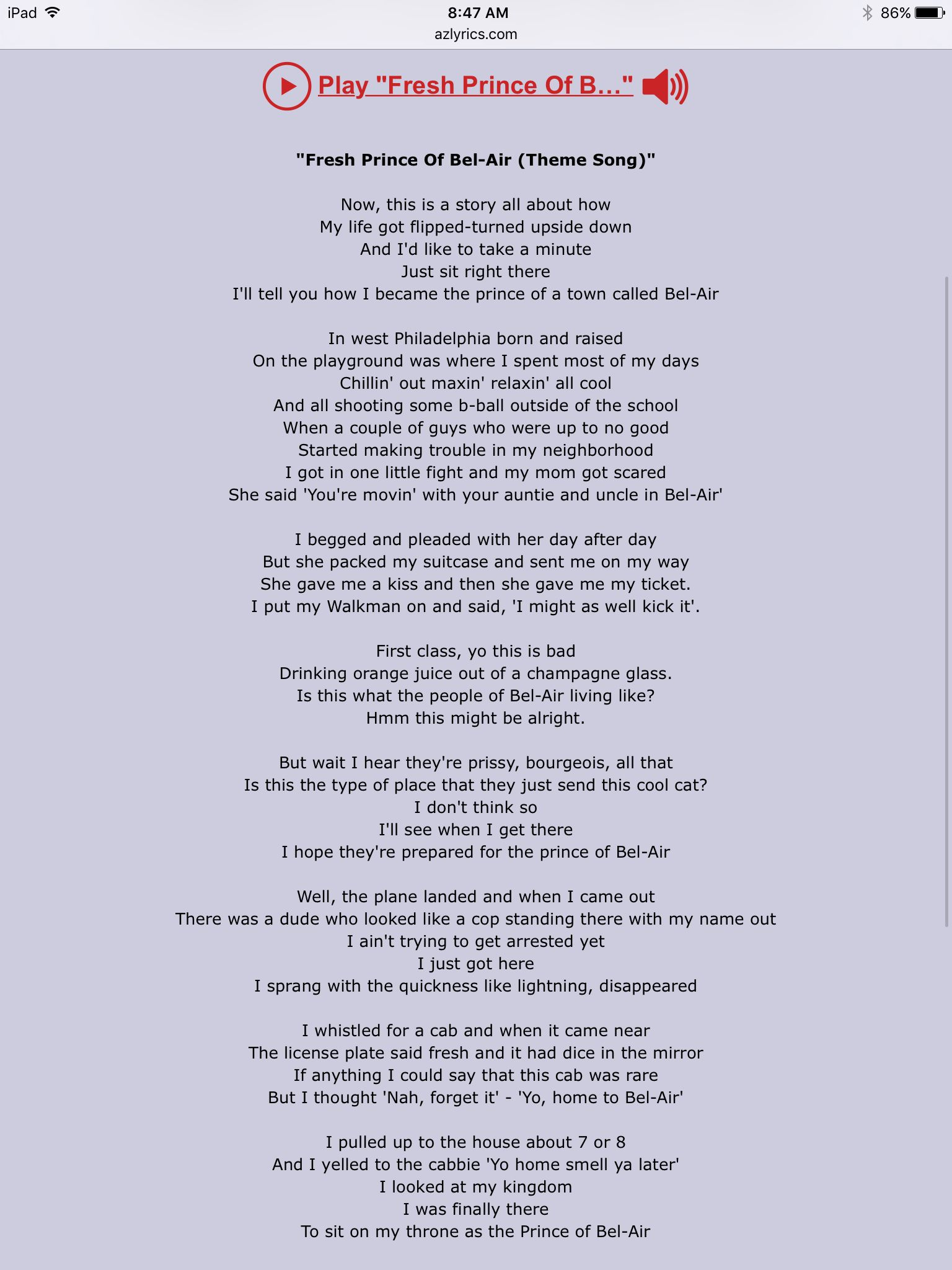 Theme lyrics   Fresh prince of bel air, Prince of bel air, Songs