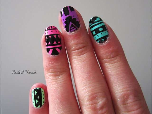 Nails Threads Tribal Nail Art With China Glaze Sunsational