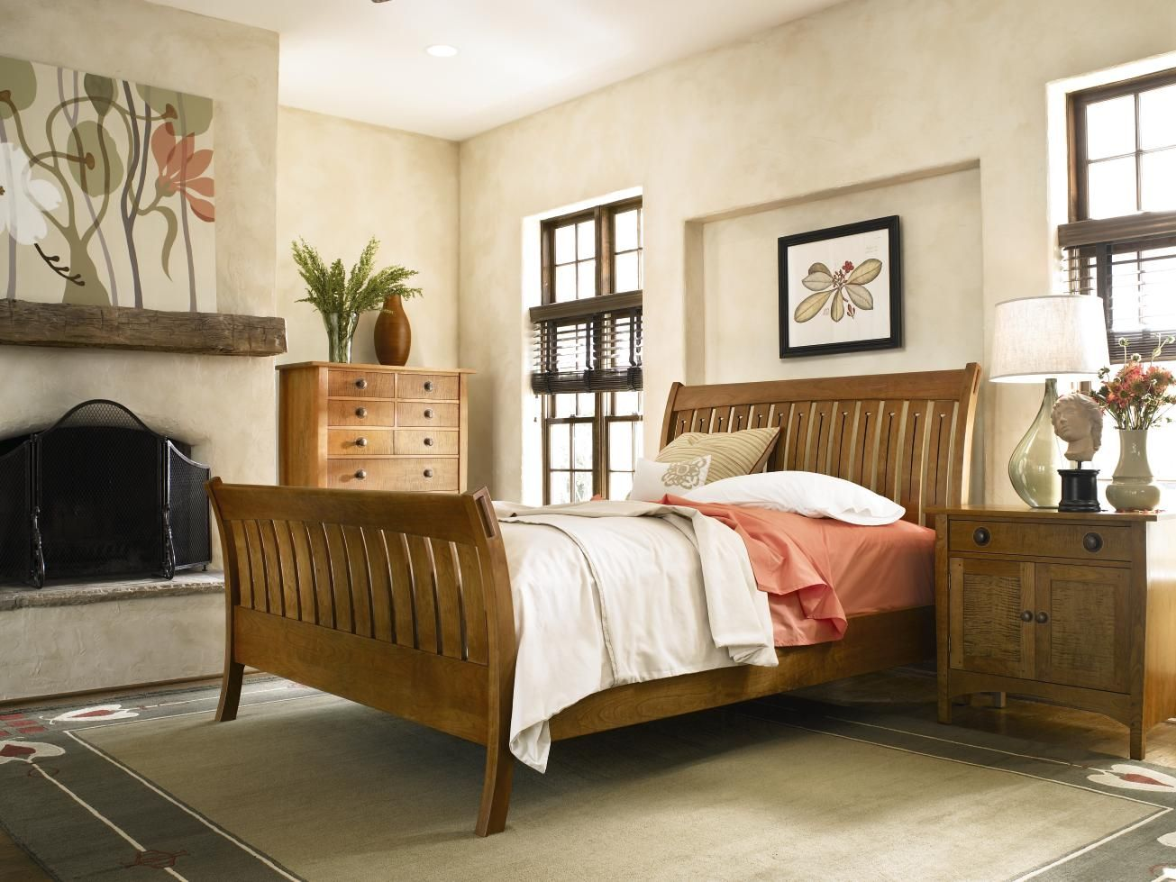 sleigh bed  furniture classic bedroom stickley furniture