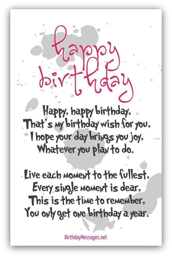 Happy Birthday Poems Happy Birthday Messages Birthday Verses For Cards Birthday Words Birthday Verses