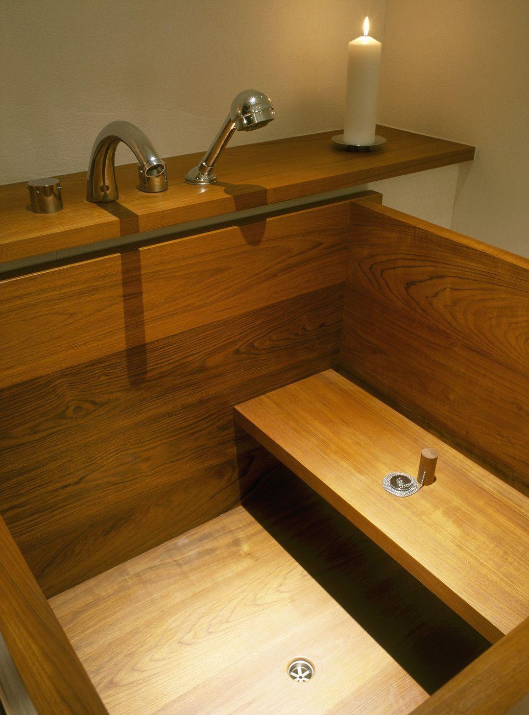 Bathroom Photos: Interesting wood (teak?) take on a Japanese soaking ...