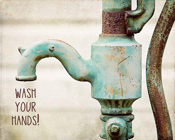 Kids Rustic Teal Bathroom Wall Art Decor. Wash Your Hands Children's Farmhouse Decor Bath Art Print, Canvas Art or Plaque.