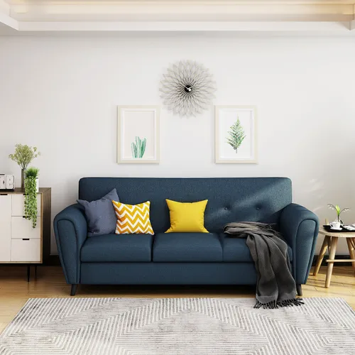 Buttoned Traditional 3 Seater Navy Blue Fabric Sofa In 2020 Blue Fabric Sofa Seater Sofa Traditional Sofa