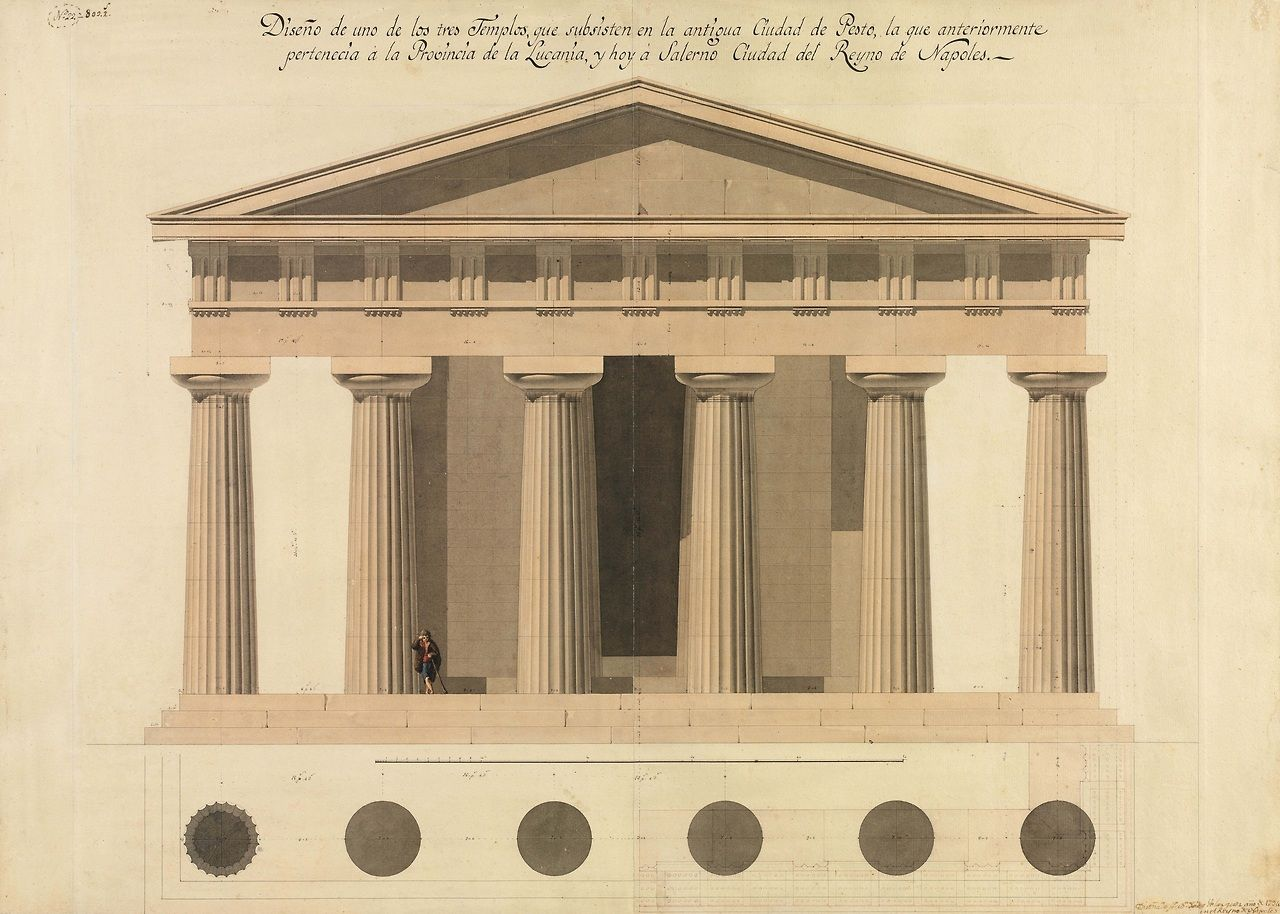 Greek Architecture Drawings Elevation of one of th...